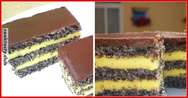 Торт с маком, ванильным кремом и шоколадной глазурью.