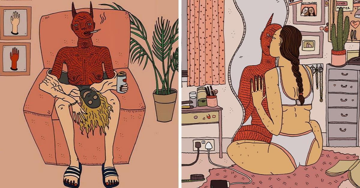 20 скандальных иллюстраций о демонах, обитающих в душе женщины.