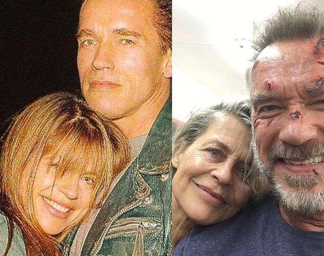 34 года спустя: Линда Хамильтон и Арнольд Шварцнейгер воссоединились на съемках 6 Терминатора.