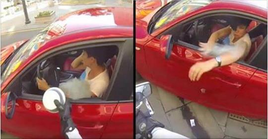 Она выбросила бутылку из окна автомобиля. Судьба моментально преподала нахалке урок!