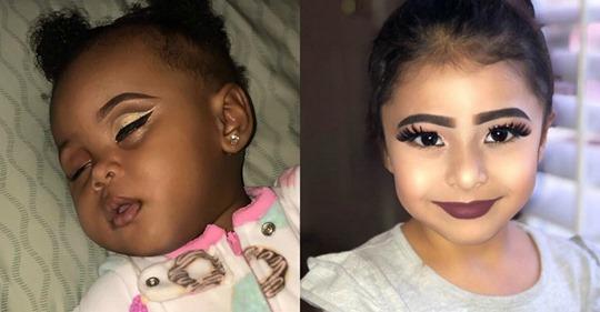 В Сети раскритиковали мамочек, которые опубликовали снимки маленьких детей с макияжем.