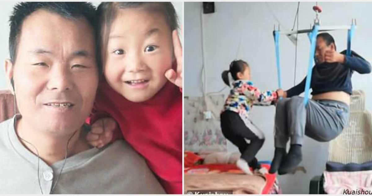 6-летняя китаянка уже 2 года заботится о парализованном папе. Потому что их бросила мама