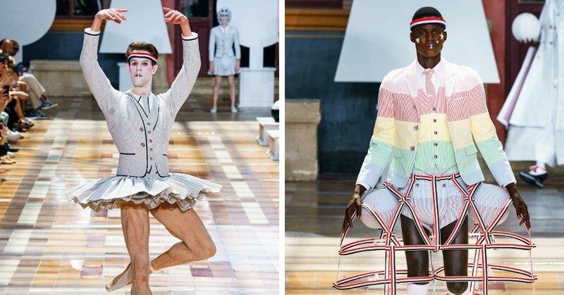 На Парижской неделе моды представлена мужская коллекция. Там есть юбки, платья, мячи и сумка-такса
