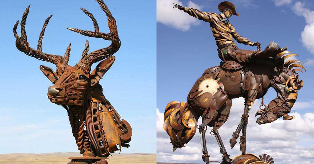 Художник делает ″животных″ из металлолома. И они как живые!