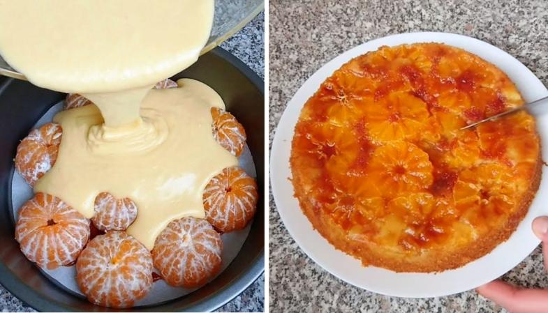 Разоблачение рецепта. Взяла свежие мандарины и залила их тестом.