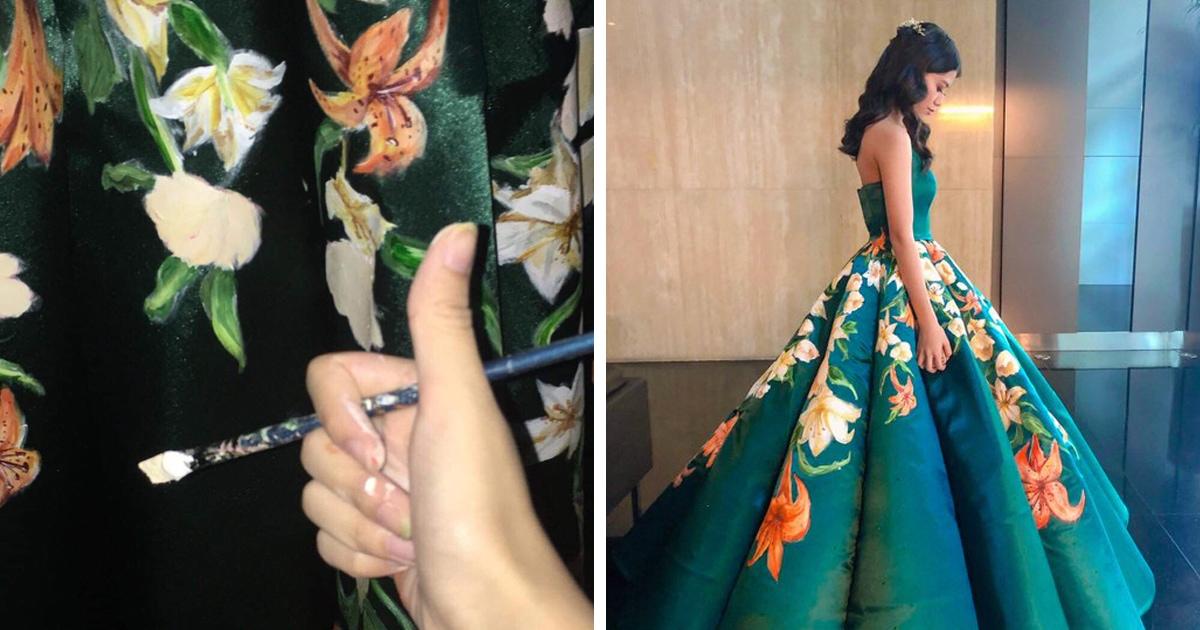 Филиппинка сама сделала себе платье на выпускной. Она сшила и расписала его вручную, создав наряд мечты