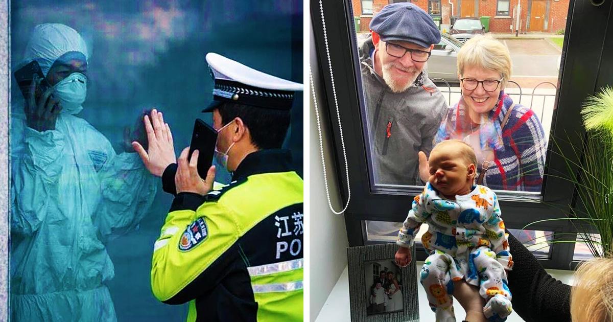 12 трогательных фотографий, на которых люди общаются друг с другом, не нарушая правил карантина