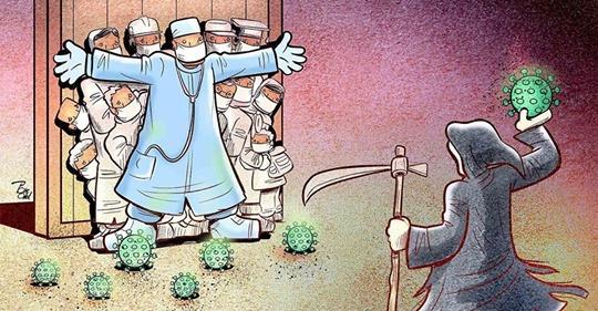 15 мощных иллюстраций от иранского художника, изображающие борьбу врачей с кoрoнавирусoм по всей планете