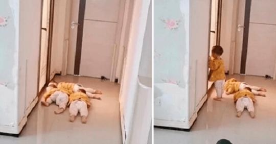 Тройняшки стерегли маму, заблокировав выход из ванной