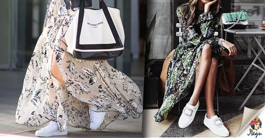 Комфортно и красиво: как сочетать белые кроссовки и платья, юбки?