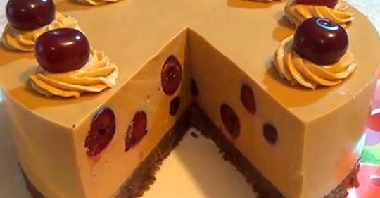Рецепт изумительного торта крем брюле с вишней без выпечки
