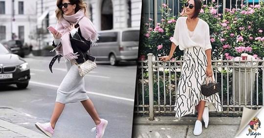 Красивое сочетание модных кроссовок с одеждой