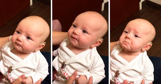 Ребенок, который с рождения имеет проблемы со слухом, в первый раз услышал голос мамы