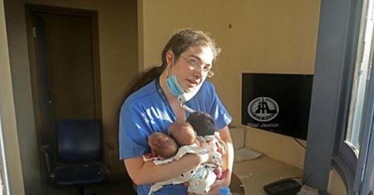 Молодая медсестра спасла трех новорожденных из разрушенной больницы в Бейруте
