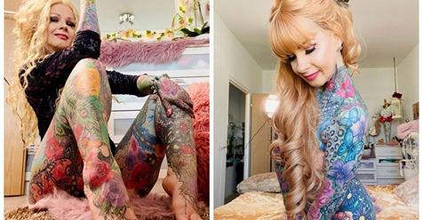 Горячая бабушка в татуировках восхищает откровенными фото