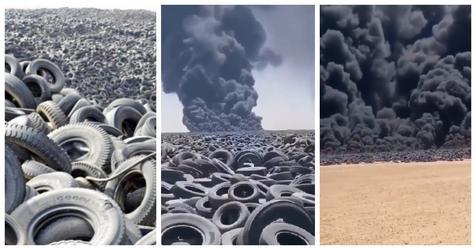 В Кувейте пылает, застилая небо копотью, одна из крупнейших в мире свалок шин